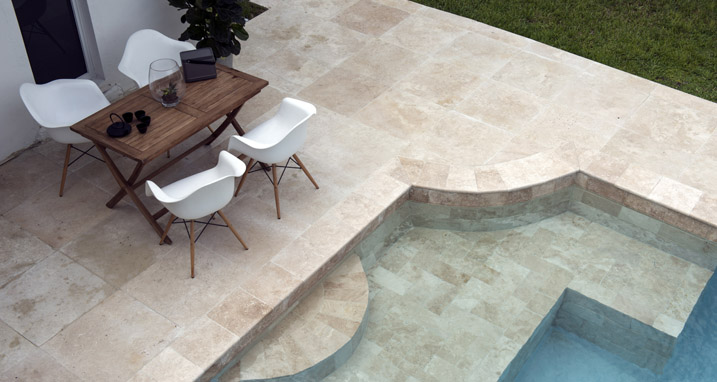 24x24 Ivory Travertine Pavers Home