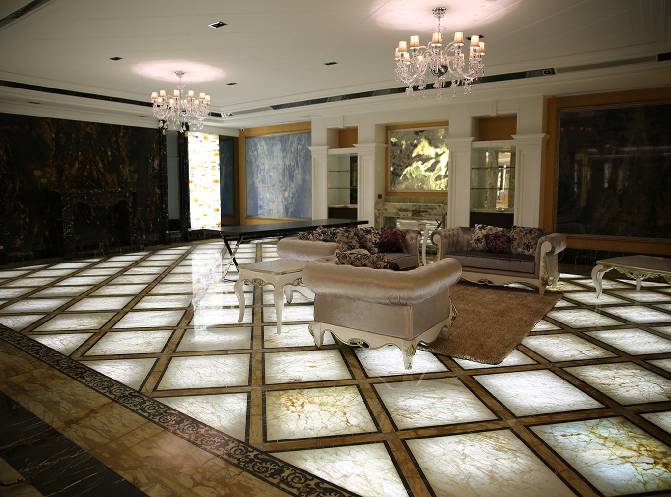 White onyx backlit floor