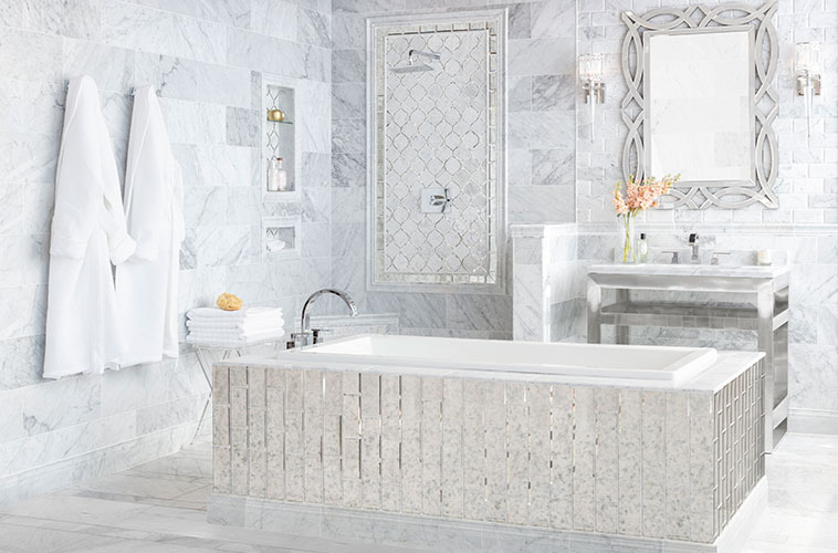 bathroomdesign bathtub white marble mosaic