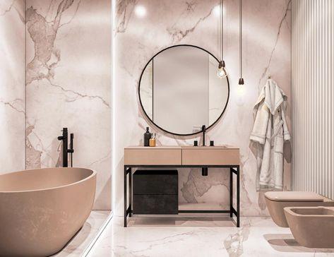 бежевый мрамор в ванной комнате