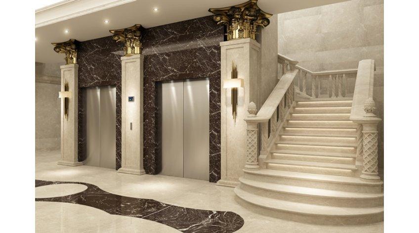 облицовка лифта мрамором