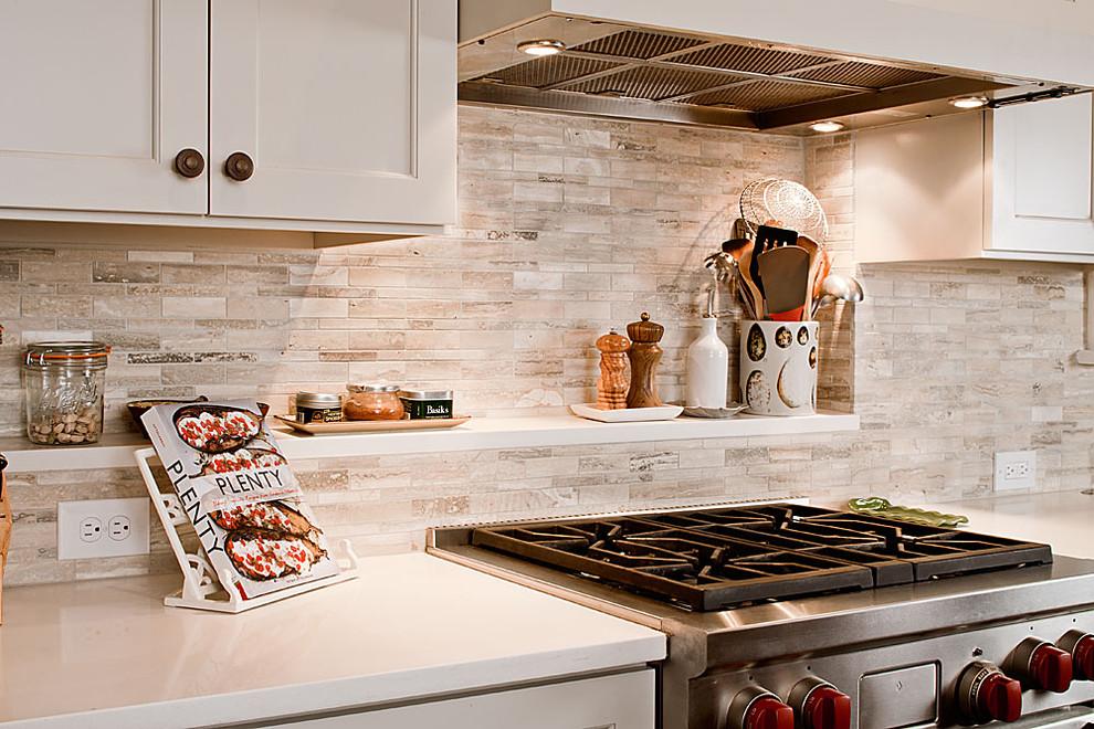 quartz countertop with backsplash sumptuous travertine in kitchen traditional tile matching marble mosaic brick stone